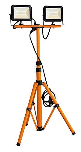 Tibelec 347760 Double Projecteurs LED de chantier sur pied télescopique Plastique/Métal 40 W Noir/Orange
