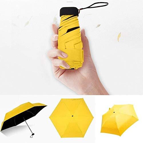 Lhbin Regenschirm Sonnenregen Frauen Flacher Leichter Regenschirm Sonnenschirm Faltbarer Sonnenschirm Mini Regenschirm Klein Größe Einfach aufbewahren Sonnenschirm-P835-Gelb