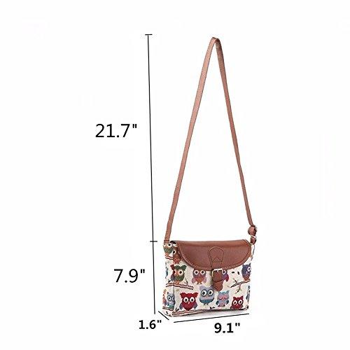 Damen Umhängetaschen Eule Druck Schultertaschen Damenhandtaschen Freizeit Handtasche Taschen Mit Verstellbarer Schultergurt (Eule B) Eule D
