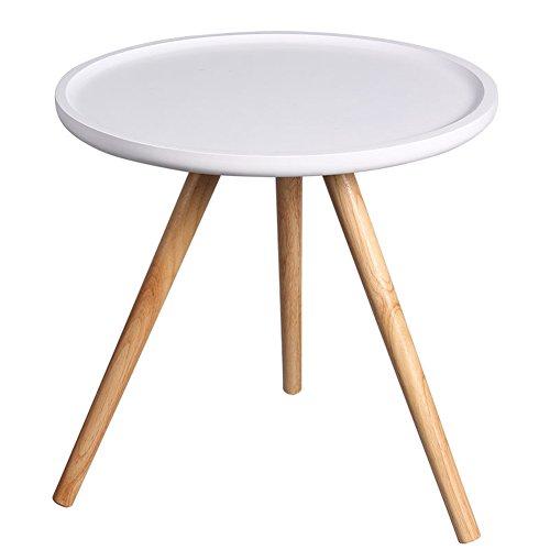 Haipeng tavolino da caffè tavolino d'appoggio tavolo piccolo caffè angolare side end semplice di spessore curvo tavola rotonda legna (colore : bianca, dimensioni : 48x47cm)