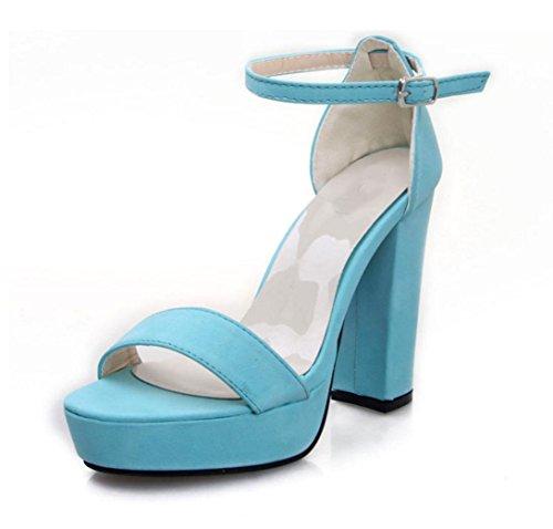 WZG La nouvelle croix candy ceinture mot chaussures à bout ouvert douce couleur boucle talons imperméables épais avec des sandales Blue
