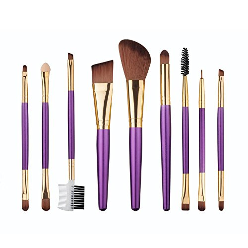 RY@ 9 Pcs Makeup Brush Kit Wood Professional Cosmetic Set Foundation Brush Powder Brush Eyeshadow Brushes , A