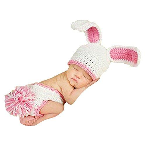 Kaninchen Kostüm Handmade - DAYAN Handmade Fotografie Prop Foto-Baby-Kostüm Nette rosa Kaninchen stricken häkeln