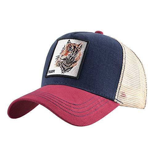 Preisvergleich Produktbild sdssup Vintage Baumwolle Bestickt Tier Baseball Cap Net Hut Cap Truck Fahrer Hut Huhn Tiger - rot 1 einstellbar