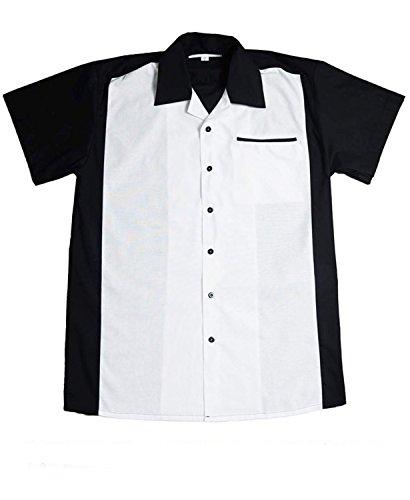 50er Jahre Panel rockabilly Lounge Shirt BOWLING Hemd schwarz weiß M (Bowling Shirt 50)