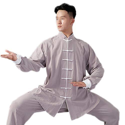 Penggenga tai chi abbigliamento colletto dritto con seta cotone modelli gong fu arti abiti da marziali completi unisex grigio 2xl