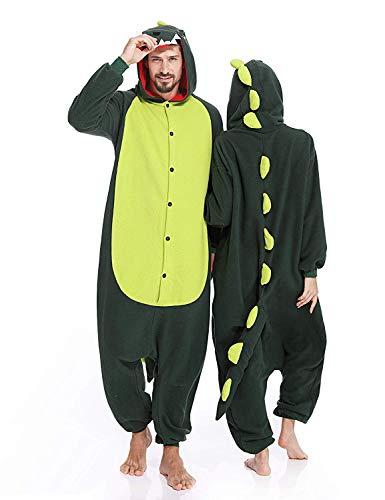 Memoryee Unisex Adult Dinosaur Onesies Pyjamas - Plüsch Kostüm Party Cosplay Tier Dinosaurier Kostüm Idee Homewear Nachtwäsche Overall Kostüm Grün XL