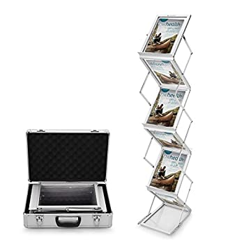 Voilamart A4 Exhibition Stand, 6-section Display Stand Double Sided Shelves Folding Floor Display Stand Portable Magazine Brochure Literature Leaflet Holder Catalogue Reference Racks For Exhibition Trade Show Showroom Reception With Carry Case, Silver 148x35 X27cm 8