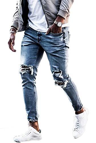 Vawal Herren Slim Fit Strecken Skinny Zerrissen Denim Jeans Destroyed Tapered Bein Hosen (S, Bleu Clair)