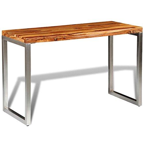 Festnight- Bartisch aus Sheesham-Holz Tischplatte und Stahlbeine | Beistelltisch Konsolentisch Esstisch Holztisch für Bistro Bar küche, 115 x 55 x 76 cm Handgefertigt