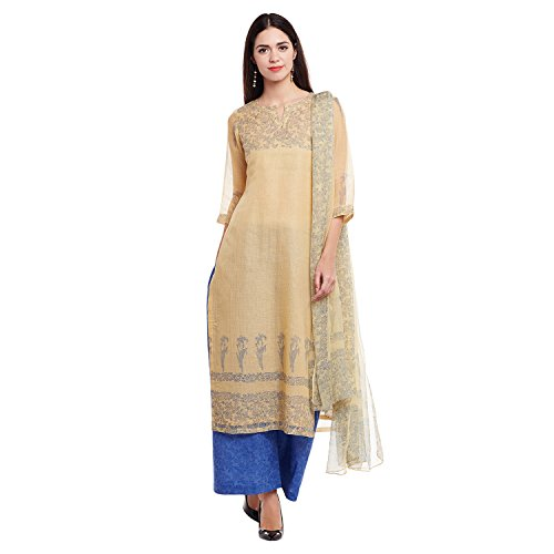 Pinkshink Beige & Blue Kota Doria Dress Material P210