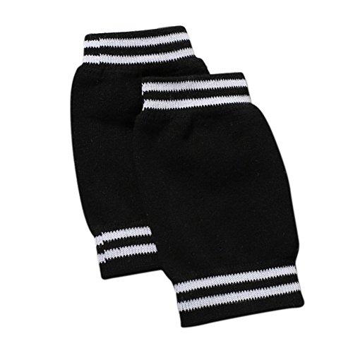 Hosaire 1 Paar Knie Schutz für Kind Baby Verstellbarer Elastische KnieSchutz Baby Kniebandage Kind Knieschoner Knie Krabbelschoner Anti-Rutsch Knieschützer Knie Schutz,über 3 Jahre alt (Schwarz)