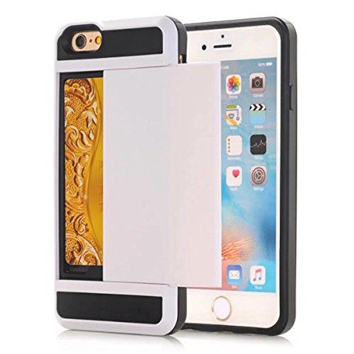 Coque Apple iPhone 6 Plus / Apple iPhone 6s Plus, Forhouse Double Couche Coque Doux Svelte TPU Heavy Duty PC 2 in 1 Portefeuille Coque Sliding[Fente pour Carte]Antidérapant Antichoc Protection de Hous Blanc