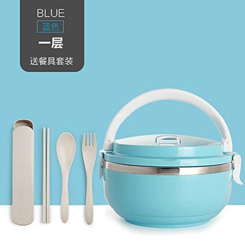 Luckyfree Lunch Box en Acier Inoxydable Support Alimentaire boîte bento Pique-Nique Plage de Travail Repas barbecues en Acier Inoxydable, Circulaire Bleu 1 Niveaux Lave