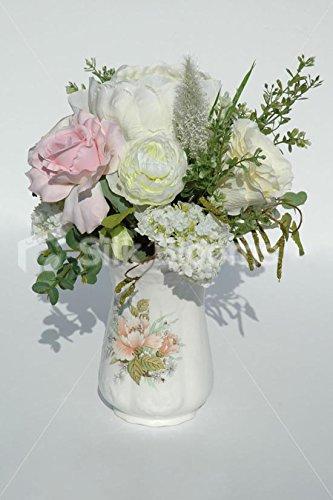 Vintage Jarrón arreglo de mesa de invitados W/de rosas y peonías