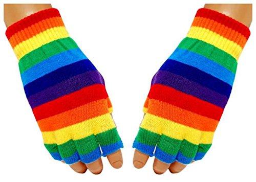 Gestreifte Fingerlose Handschuhe Regenbogen für (Gestreifte Handschuhe Fingerlose)