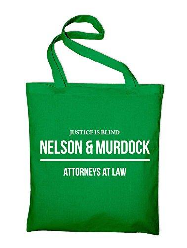 Nelson and Murdock Attorneys At Law Jutebeutel, Beutel, Stoffbeutel, Baumwolltasche, schwarz Grün