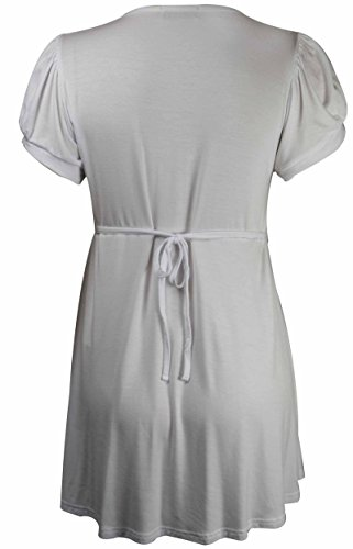 Purple Hanger - Damen T-Shirt Knopfleiste Vorne Einfarbiges Top Passgenau Kurze Ärmel U-Ausschnitt Übergröße Top Weiß