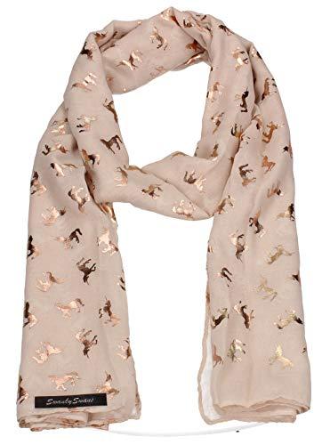 SWANKYSWANS Leah Unicorn Rose Gold Foil Print Scarf Shawl Wrap