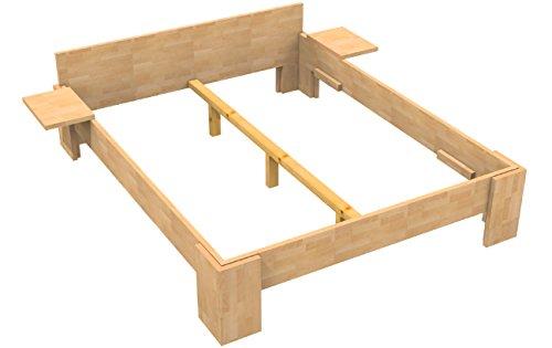 Baßner Holzbau 27mm Echtholzbett Massivholzbett Buche 180×200 Fuß I 40cm Rahmenhöhe