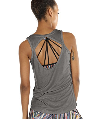 icyzone Damen Yoga Sport Tank Top - Rückenfrei Fitness Shirt Oberteil ärmellos Training Tops (Grey,S)