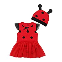 Ladybird Dress Bodysuit with Beanie Cap - Summer Romper Clothes for Photography - Sleeveless - for Baby Girl