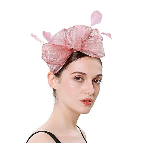 Soxtome Sinamay Fascinator mit Federn, Haarband, Haarspange für Hochzeit, Cocktail, Tee, Party, Royal Ascot Gr. Einheitsgröße, - Mädchen Freche Flapper Kostüm