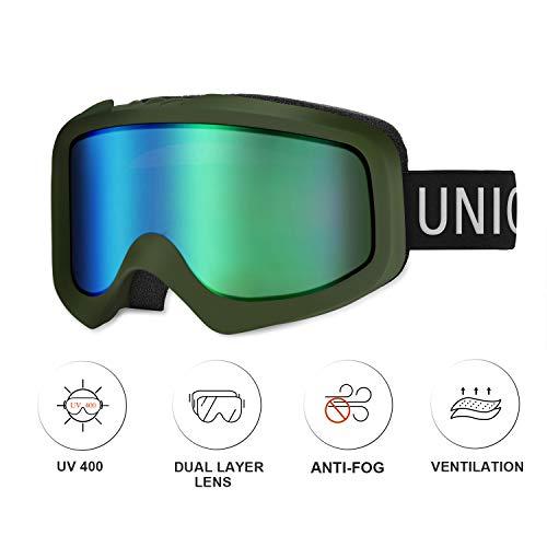 Unigear Maschere da Sci, Maschere da Snowboard OTG Produzione UV401 Doppie Lenti Casco Antiappannamento Occhiali da Neve Antivento Compatibili per Donna Uomo Junior