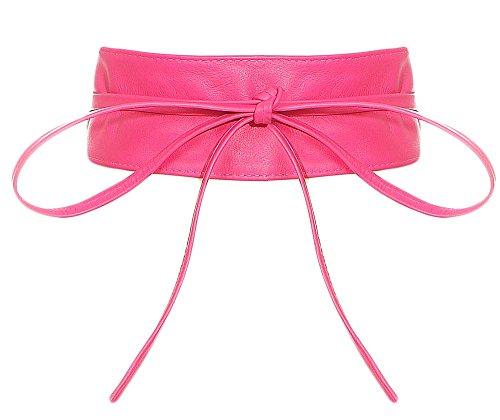 malito Damen Taillengürtel | Echtleder Bindegürtel | breiter Wickelgürtel - Ledergürtel - Hüftgürtel G100 (pink)