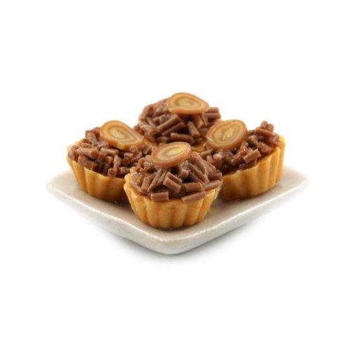 MyTinyWorld 4 Maison de poupées miniature Chocolat Paillettes tartes sur une 19mm Assiette carrée