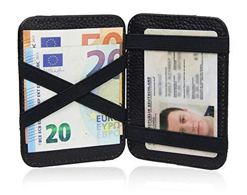 Frentree ® Echtleder Geldbörse - Magic Wallet - Portmonnaie Karten Etui, Schwarz, mit Geschenkbox