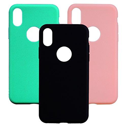 3 x Coque iPhone X, OUJD Case Housse Bumper Coque de Protection TPU Silicone Gel Souple Flexible Ultra Mince Slim iPhone X - Rose, Vert, Noir Rose, vert, noir