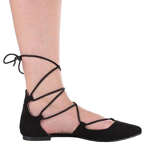 Damen Schuhe, 1351-PL, PUMPS SCHNÜR Schwarz