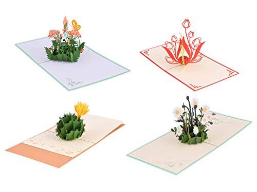 (Set mit 4 Stück) Handmade Pretty 3D PopUp Karte mit Blume 02 (in Sammlung Geburtstagskarte, Liebeskarte, Dankeskarte, Valentinskarte, Tierkarte, Blumenkarte, Grußkarte usw.)