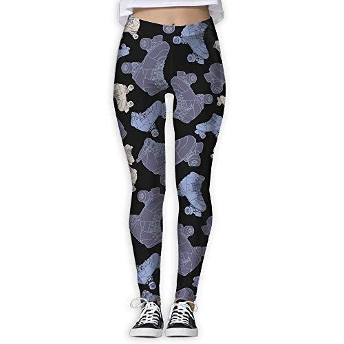 Deglogse Yogahosen, Trainingsgamaschen,Women's Purple Roller Skates Printing Athletic Stretchy Yoga Pants Workout Pants Elasticity Leggings (Roller-skates Günstige)