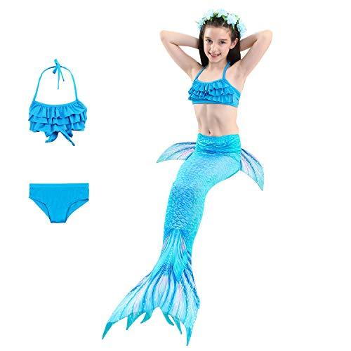 DUBAOBAO Meerjungfrau Schwanz Badeanzug, Schwanz Badebekleidung Gürtel Fin Badebekleidung Badebekleidung Gürtel Monoflosse Mädchen schwimmbar,2,130