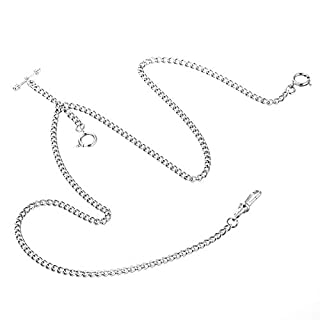 ManChDa Unique Silver Double Albert T-Bar Pocket Watch Chain 16 inch with 3 Hook for Men Women