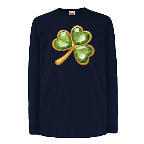 Kinder-T-Shirt mit langen Ärmeln Irish shamrock St Patricks day clothing (12-13 years Blau Mehrfarben)