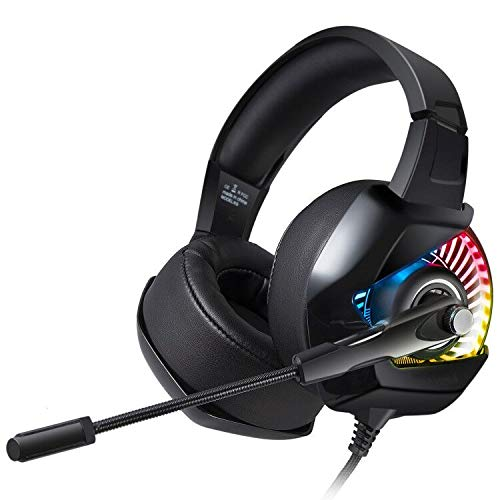 AIXMEET Gaming Headset für PS4, Surround Sound LED Licht Professional Kabelgebundenes Kopfhörer mit Mikrofon für PC, Xbox One, Nintendo Switch