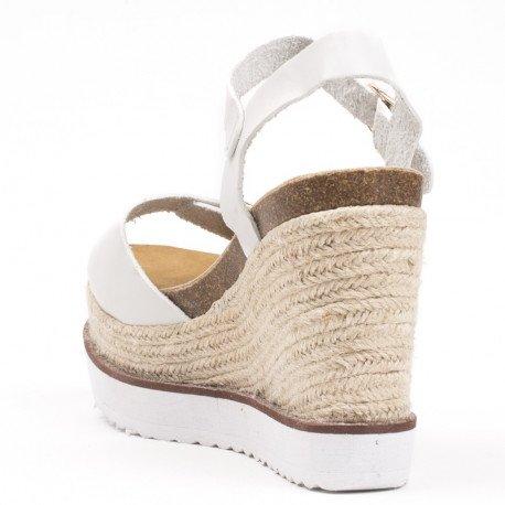 Ideal Shoes - Sandales compensées en similicuir Laiyna Blanc