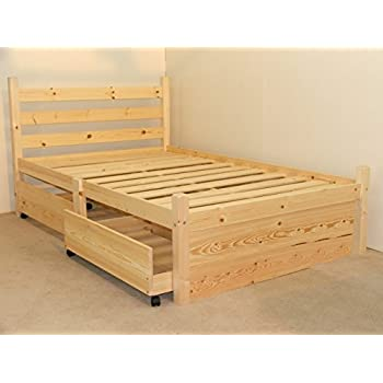 Double pine bed with four storage drawers heavy duty for for Wooden divan bed with drawers