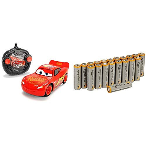 Dickie Toys 203084003 - RC Cars 3 Turbo Racer Lightning McQueen, RC-Fahrzeug, ferngesteuertes Auto, 1:24, 17cm mit AmazonBasics Batterien
