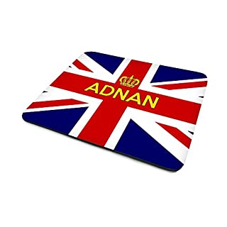 Adnan, Personalised Name, Union Jack Flag (United Kingdom) And Crown Design, Mouse Mat, Size 230mm x 180mm x 5mm.