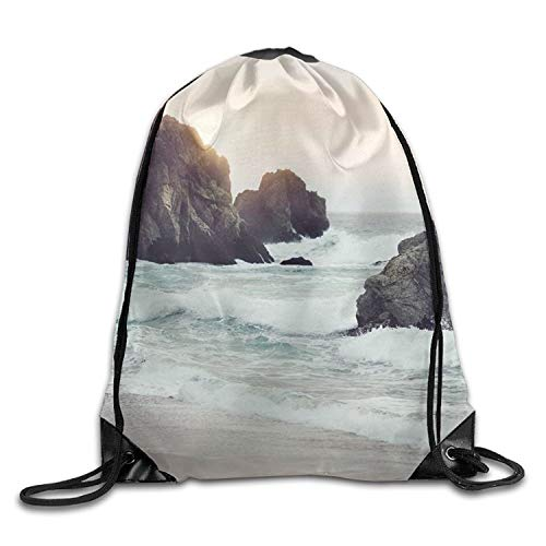 gthytjhv Sea Nature Sunny Beach Personalized Gym Drawstring Bags Travel Backpack Tote School Rucksack Lightweight Unique 16.9x14.2