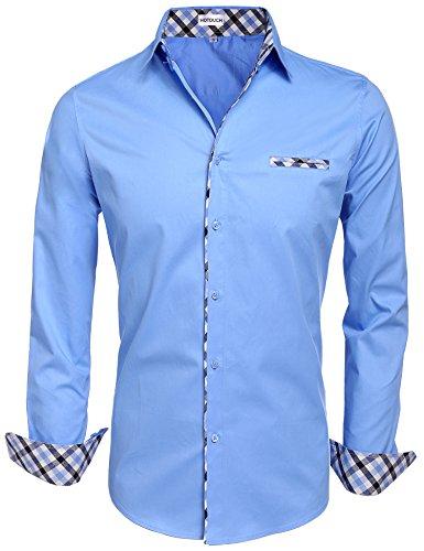 Beautyuu camicia da uomo camicia a maniche lunghe in cotone camicia casual slim fit stiratura facile azzurro m