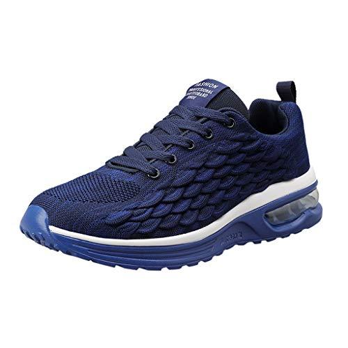 CUTUDE Herren Sommer Air Mesh Sneakers Leichte Luftkissen Schnürschuhe für Walking Jogging Laufen Basketball Frühling Sommer (Blau, 45 EU)