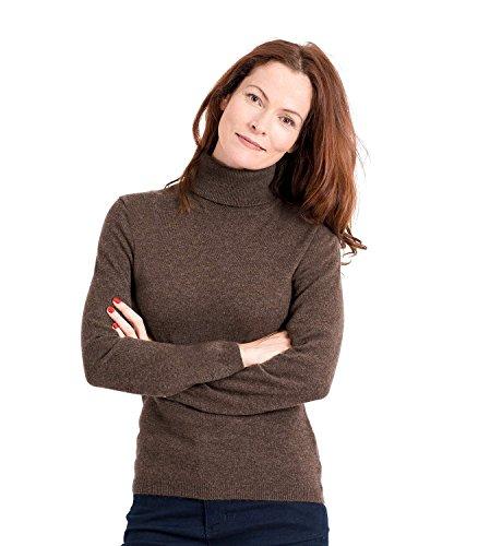 WoolOvers Figurbetonter Rollkragenpullover aus Merinowolle-Kaschmirwolle für Damen Brown Marl, M (Cashmere Pullover Brown)