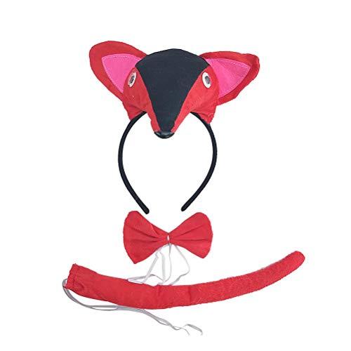 Amosfun Kinder Fuchs Kostüm Set Haarheif Fliege und Schwanz Kinder Party Tier Kostüm Schmuck Zubehör 3 (Fox Kostüm Kleinkind)
