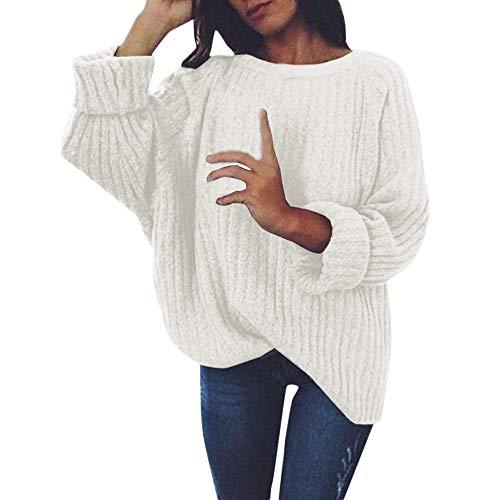 Pullover Damen,❤️Binggong Damen Gestrickte Tiefe O-Neck Langarm Wrap Front lose Pullover Jumper Neck Cool Wrap