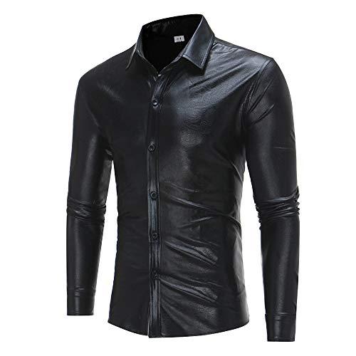 VRTUR Mode Herren Langarm Pullover Lässig Drucken Knopf Langarm Hemd Bluse Oberteile Tops(M,Khaki) -